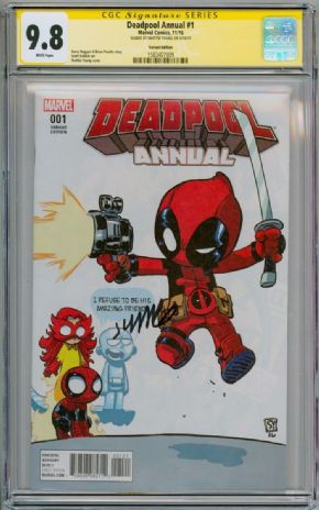 Deadpool Annual #1 Baby Variant CGC 9.8 Signature Series Signed Skottie Young Marvel comic book